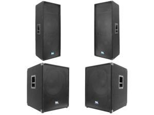 """Seismic Audio - Pair of Dual 15"""" PA Speakers and Two 18"""" Subwoofer Cabinets"""