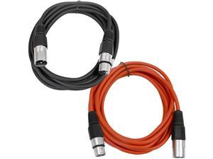 SEISMIC AUDIO - SAXLX-6 - 2 Pack of 6' XLR Male to XLR Female Patch Cables - Balanced - 6 Foot Patch Cord - Black and Red