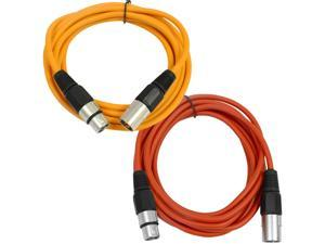 SEISMIC AUDIO - SAXLX-6 - 2 Pack of 6' XLR Male to XLR Female Patch Cables - Balanced - 6 Foot Patch Cord - Orange and Red