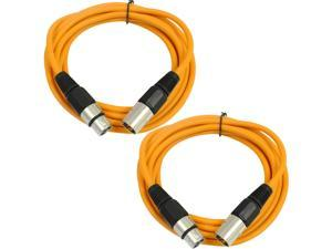 SEISMIC AUDIO - SAXLX-6 - 2 Pack of 6' XLR Male to XLR Female Patch Cables - Balanced - 6 Foot Patch Cord - Orange and Orange