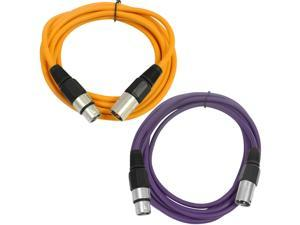SEISMIC AUDIO - SAXLX-6 - 2 Pack of 6' XLR Male to XLR Female Patch Cables - Balanced - 6 Foot Patch Cord - Orange and Purple