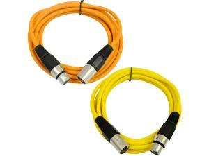 SEISMIC AUDIO - SAXLX-6 - 2 Pack of 6' XLR Male to XLR Female Patch Cables - Balanced - 6 Foot Patch Cord - Orange and Yellow