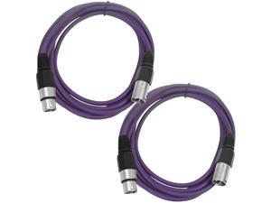 SEISMIC AUDIO - SAXLX-6 - 2 Pack of 6' XLR Male to XLR Female Patch Cables - Balanced - 6 Foot Patch Cord - Purple and Purple