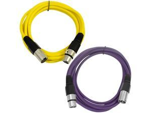 SEISMIC AUDIO - SAXLX-6 - 2 Pack of 6' XLR Male to XLR Female Patch Cables - Balanced - 6 Foot Patch Cord - Yellow and Purple