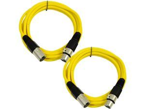 SEISMIC AUDIO - SAXLX-6 - 2 Pack of 6' XLR Male to XLR Female Patch Cables - Balanced - 6 Foot Patch Cord - Yellow and Yellow
