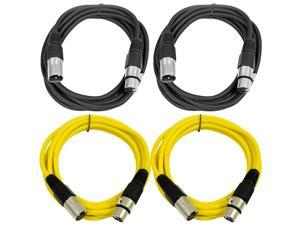 SEISMIC AUDIO - SAXLX-6 - 4 Pack of 6' XLR Male to XLR Female Patch Cables - Balanced - 6 Foot Patch Cord - Black and Yellow