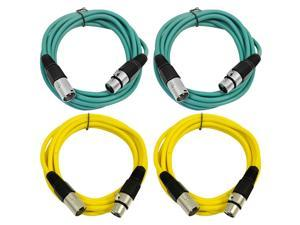 SEISMIC AUDIO - SAXLX-6 - 4 Pack of 6' XLR Male to XLR Female Patch Cables - Balanced - 6 Foot Patch Cord - Green and Yellow