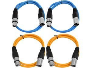 SEISMIC AUDIO - SAXLX-2 - 4 Pack of 2' XLR Male to XLR Female Patch Cables - Balanced - 2 Foot Patch Cord - Blue and Orange