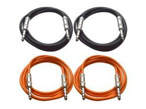 "SEISMIC AUDIO - SATRX-6 - 4 Pack of 6' 1/4"" TRS to 1/4"" TRS Patch Cables - Balanced - 6 Foot Patch Cord - Black and Orange"
