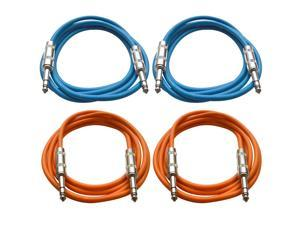 "SEISMIC AUDIO - SATRX-6 - 4 Pack of 6' 1/4"" TRS to 1/4"" TRS Patch Cables - Balanced - 6 Foot Patch Cord - Blue and Orange"