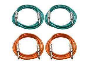 "SEISMIC AUDIO - SATRX-6 - 4 Pack of 6' 1/4"" TRS to 1/4"" TRS Patch Cables - Balanced - 6 Foot Patch Cord - Green and Orange"