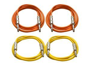 "SEISMIC AUDIO - SATRX-6 - 4 Pack of 6' 1/4"" TRS to 1/4"" TRS Patch Cables - Balanced - 6 Foot Patch Cord - Orange and Yellow"