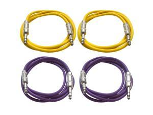 "SEISMIC AUDIO - SATRX-6 - 4 Pack of 6' 1/4"" TRS to 1/4"" TRS Patch Cables - Balanced - 6 Foot Patch Cord - Yellow and Purple"