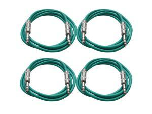 "SEISMIC AUDIO - SATRX-6 - 4 Pack of 6' 1/4"" TRS to 1/4"" TRS Patch Cables - Balanced - 6 Foot Patch Cord - Green and Green"