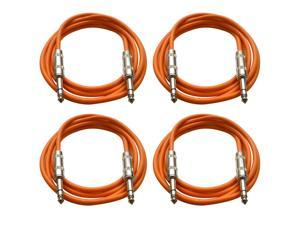 "SEISMIC AUDIO - SATRX-6 - 4 Pack of 6' 1/4"" TRS to 1/4"" TRS Patch Cables - Balanced - 6 Foot Patch Cord - Orange and Orange"