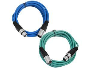 SEISMIC AUDIO - SAXLX-6 - 2 Pack of 6' XLR Male to XLR Female Patch Cables - Balanced - 6 Foot Patch Cord - Blue and Green