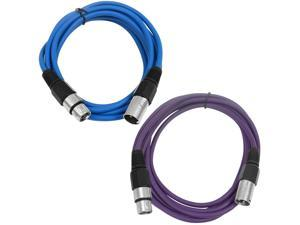 SEISMIC AUDIO - SAXLX-6 - 2 Pack of 6' XLR Male to XLR Female Patch Cables - Balanced - 6 Foot Patch Cord - Blue and Purple