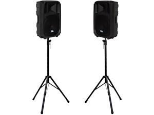 "Seismic Audio - L_Wave-15Pair-PKG1 - Pair of Powered Molded 15"" PA Speakers with two Tripod Speaker Stands"