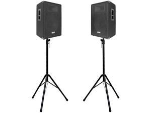"Seismic Audio - FL-15P-PKG1 - Pair of 15"" Premium PA Speakers with two Tripod Speaker Stands"