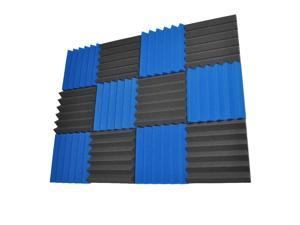Seismic Audio - SA-FMDM2-Blue-Black-6Each - 12 Pack of 2 Inch Charcoal / Blue Studio Acoustic Foam Sheets - Noise Cancelling Foam Wedge Tiles