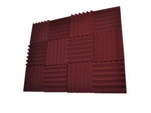 Seismic Audio - SA-FMDM3-Burgundy-12Pack - 12 Pack of 3 Inch Burgundy Studio Acoustic Foam Sheets - Noise Cancelling Foam Wedge Tiles
