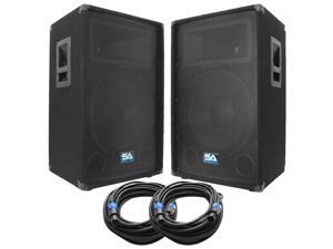 Seismic Audio - SA-15T-PKG23 - Pair of 15 Inch PA/DJ Loudspeakers and 50' Speaker Cables - 15 Inch Club,Party Loud Speakers