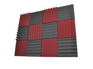 Seismic Audio - SA-FMDM2-Burgundy-Black-6Each - 12 Pack of 2 Inch Charcoal / Burgundy Studio Acoustic Foam Sheets - Noise Cancelling Foam Wedge Tiles