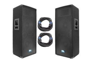 "Seismic Audio - SA-122T-PKG21 - Pair of Dual 12"" PA/DJ Speakers with two 25' Speaker Cables - Dual 12 Inch PA Speaker and Cables Bundle"