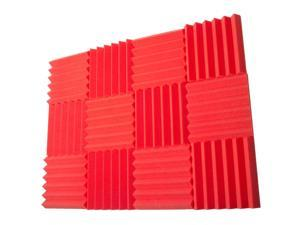 Seismic Audio - SA-FMDM2-Red-12Pack - 12 Pack of 2 Inch Red Studio Acoustic Foam Sheets - Noise Cancelling Foam Wedge Tiles