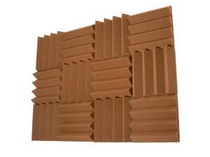 Seismic Audio - SA-FMDM3-Brown-12Pack - 12 Pack of 3 Inch Brown Studio Acoustic Foam Sheets - Noise Cancelling Wedge Tiles