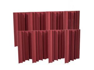 Seismic Audio - SA-FMBST-Burgundy-8Pack - 8 Pack of Burgundy Acoustic Foam Corner Bass Traps - Soundproof Noise Cancelling Foam - Sound Absorption