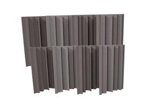 Seismic Audio - SA-FMBST-Charcoal-8Pack - 8 Pack of Charcoal Acoustic Foam Corner Bass Traps - Soundproof Noise Cancelling Foam - Sound Absorption