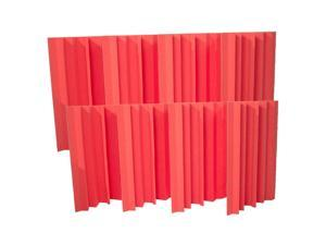 Seismic Audio - SA-FMBST-Red-8Pack - 8 Pack of Red Acoustic Foam Corner Bass Traps - Soundproof Noise Cancelling Foam - Sound Absorption