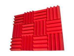 Seismic Audio - SA-FMDM3-Red-12Pack - 12 Pack of 3 Inch Red Studio Acoustic Foam Sheets - Noise Cancelling Foam Wedge Tiles