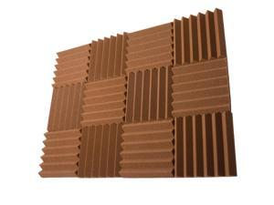 Seismic Audio - SA-FMDM2-Brown-12Pack - 12 Pack of 2 Inch Brown Studio Acoustic Foam Sheets - Noise Cancelling Foam Wedge Tiles