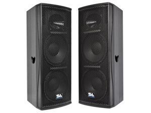 """Seismic Audio - Magma-212-PW-Pair - Pair of Premium Active Dual 12"""" 2-Way Bi-Amp Loudspeaker Cabinets - 800 Watts RMS- Active 800 Watt Loudspeaker Cabinets"""