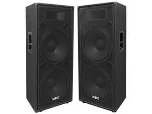"""Seismic Audio - FL-155PC - Pair of Dual Premium 15"""" PA/DJ Speaker Cabinets with Titanium Horns - Wheel Kits and Rear Handles - 800 Watts RMS per Cabinet"""