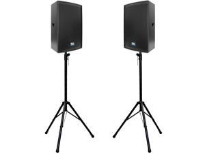 """Seismic Audio - Lava-15-PKG1 - Pair of Premium 15"""" PA Speakers with two Tripod Speaker Stands"""