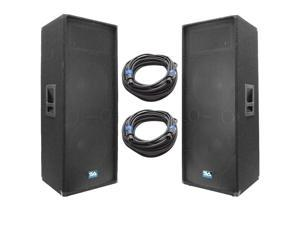 Seismic Audio - SA-155T-PKG23 - Pair of Dual 15 Inch PA/DJ Loudspeakers and 50' Speaker Cables - Dual 15 Inch Club,Party Loud Speakers