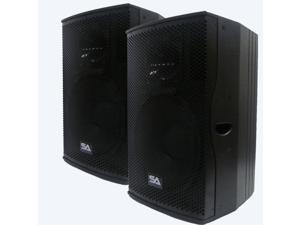 "Seismic Audio - MAGMA-D15PW-Pair - Pair of Premium Active 15"" Full Range Class D PA Speaker Cabinets - Powered 500 Watt DJ Speaker Cabinets"
