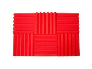 Seismic Audio - SA-FMDM2-Red-6Pack - 6 Pack of 2 Inch Red Studio Acoustic Foam Sheets - Noise Cancelling Sound Dampening Foam Wedge Tiles