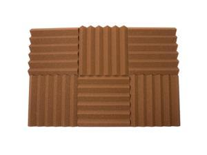 Seismic Audio - SA-FMDM2-Brown-6Pack - 6 Pack of 2 Inch Brown Studio Acoustic Foam Sheets - Noise Cancelling Sound Dampening Foam Wedge Tiles