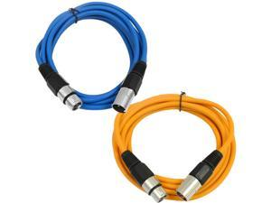 SEISMIC AUDIO - SAXLX-6 - 2 Pack of 6' XLR Male to XLR Female Patch Cables - Balanced - 6 Foot Patch Cord - Blue and Orange