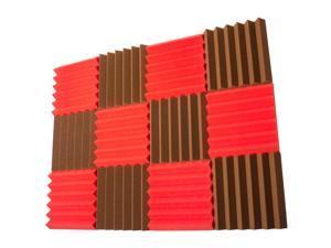 Seismic Audio - SA-FMDM2-Red-Brown-6Each - 12 Pack of Red / Brown 2 Inch Studio Acoustic Foam Sheets - Noise Canceling Foam Wedge Tiles