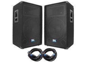 """Seismic Audio - SA-15T-PKG22 - Pair of 15"""" DJ Speakers with two 35' Speaker Cables - 15 Inch DJ Loudspeakers Club Speakers"""