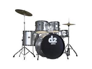 ddrum D2 5pc Drum Set with Hdwr & Cyms - Metallic Silver