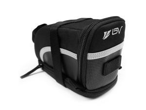 BV Bicycle Strap-On Saddle / Seat Bag with 3M Scotchlite Reflective Trim, Expandable (Large)
