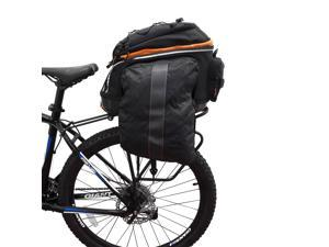 Ibera Bike PakRak Commuter Bicycle Bag and Rack COMBO - Bag with Expandable Mini Panniers and Touring Carrier Plus+ Rack with Disk Brake Mounts, IB-BA14-RA5