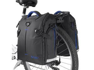 BV Bike Panniers (Pair), Large Capacity, 14 L (each pannier), Black with Detachable Shoulder Straps and All Weather Rain Covers