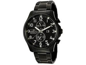 Men's Invicta II 383 Black Carbon Fiber Dial Black Ion Plated Stainless Steel Watch